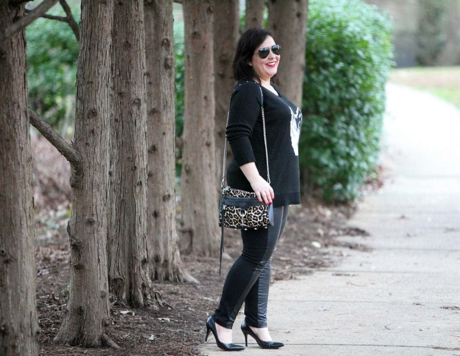 Wardrobe Oxygen, an over 40 fashion and personal style blog featuring leather front pants and a BB Dakota intarsia sweater - What I Wore: Cry Wolf