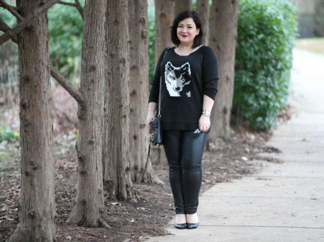 Wardrobe Oxygen, an over 40 fashion and personal style blog featuring leather front pants and a BB Dakota intarsia sweater