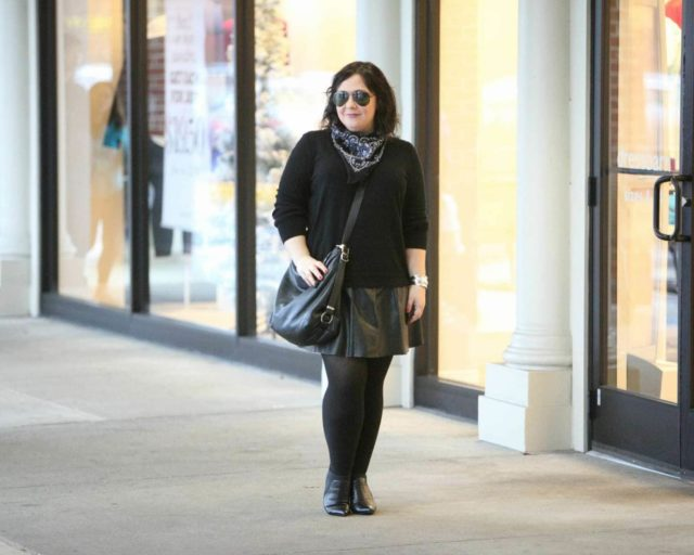 Wardrobe Oxygen featuring a black Nordstrom Collection cashmere sweater, leather pleated skirt, and convertible bag from Rough & Tumble Bags.