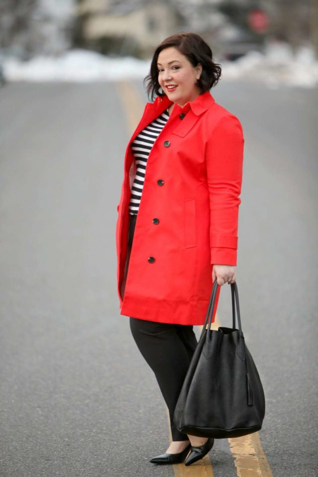 Wardrobe Oxygen featuring an orange Ann Taylor trench and a black tote from Adora Bags