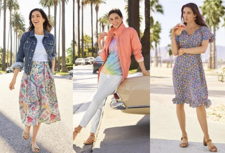 three images of a brunette woman wearing Talbots fashion that features tie dye, romantic florals, and denim