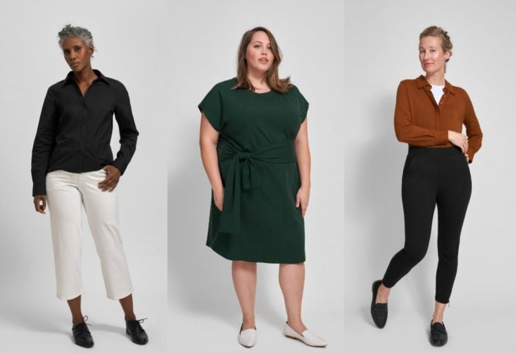 three women wearing universal standard fashion standing in a studio