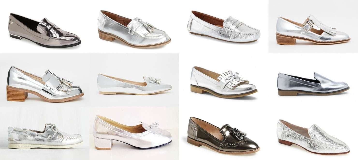 Wardrobe Oxygen - 2016 shoe trend is silver mirror. My picks for best silver loafers driving mocs and boating shoes