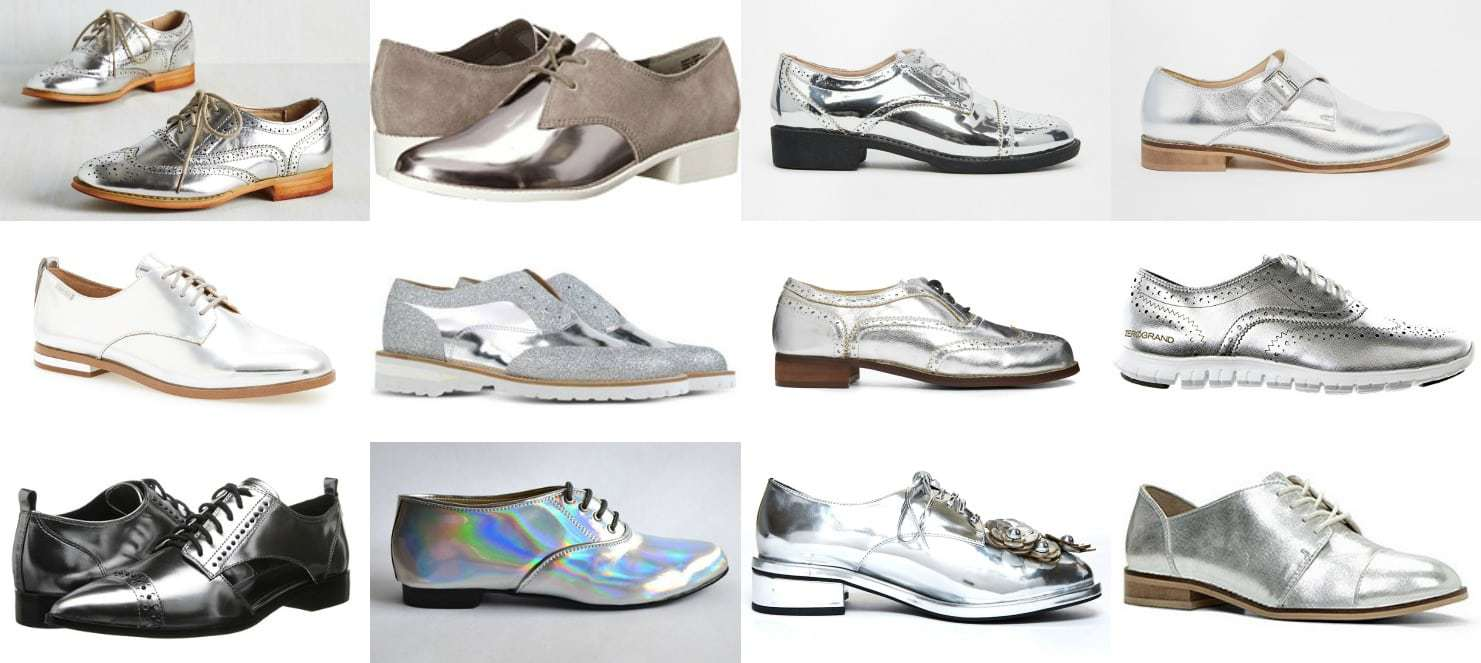 Wardrobe Oxygen - Silver shoe trend for 2016 my picks for silver or mirror oxfords or brogues