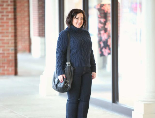 Wardrobe Oxygen wearing a navy Lands End cableknit turtleneck sweater with JAG Foster Bootcut jeans