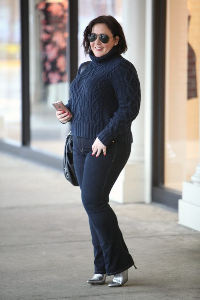 Wardrobe Oxygen wears a Lands End cable knit turtleneck sweater and JAG JeansWhat I Wore: Cozy Navy