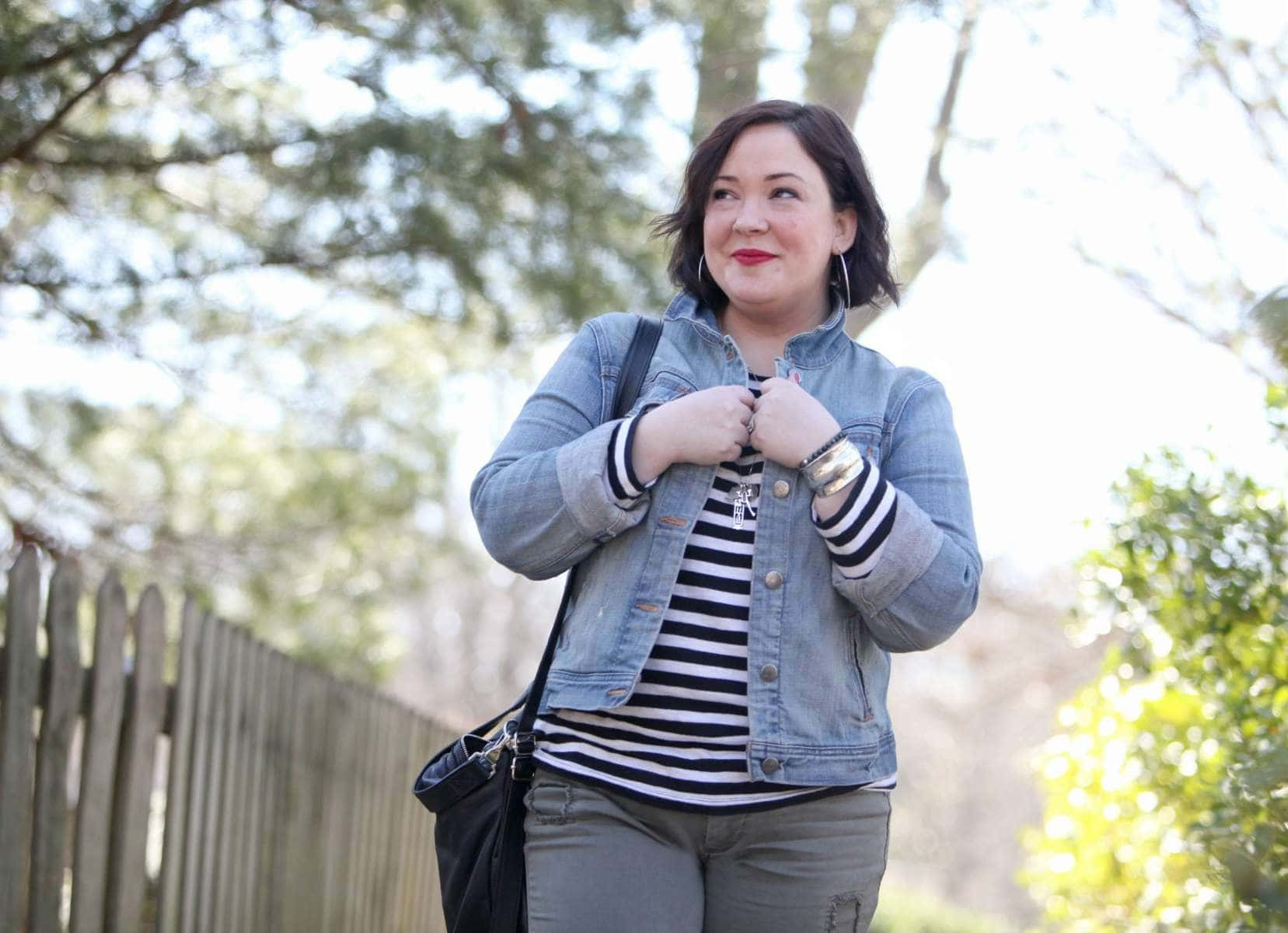 Wardrobe Oxygen featuring a J. Crew Factory denim jacket and striped tee with JAG Jeans Erin cuffed ankle pant