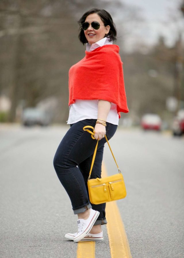 Wardrobe Oxygen featuring a Casmere Wrap with Cuffed Jeans