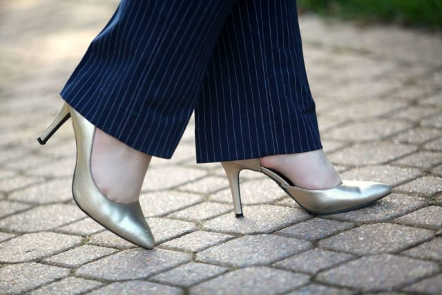 Wardrobe Oxygen featuring gold metallic d'Orsay pumps from Payless ShowSource