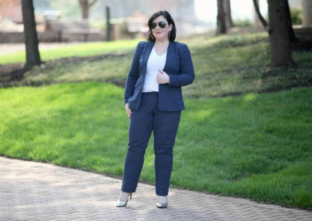 Wardrobe Oxygen featuring a navy pinstripe pantsuit from Banana Republic with gold d'Orsay pumps from Payless