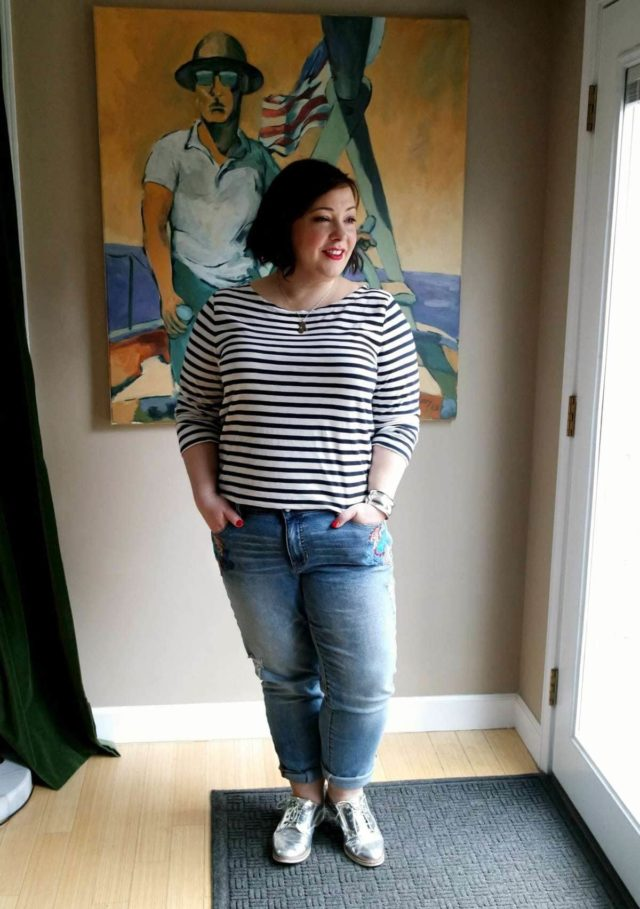 Wardrobe Oxygen wearing JAG Jeans embroidered boyfriend jeans with a J. Crew Breton stripe tee and silver oxfords