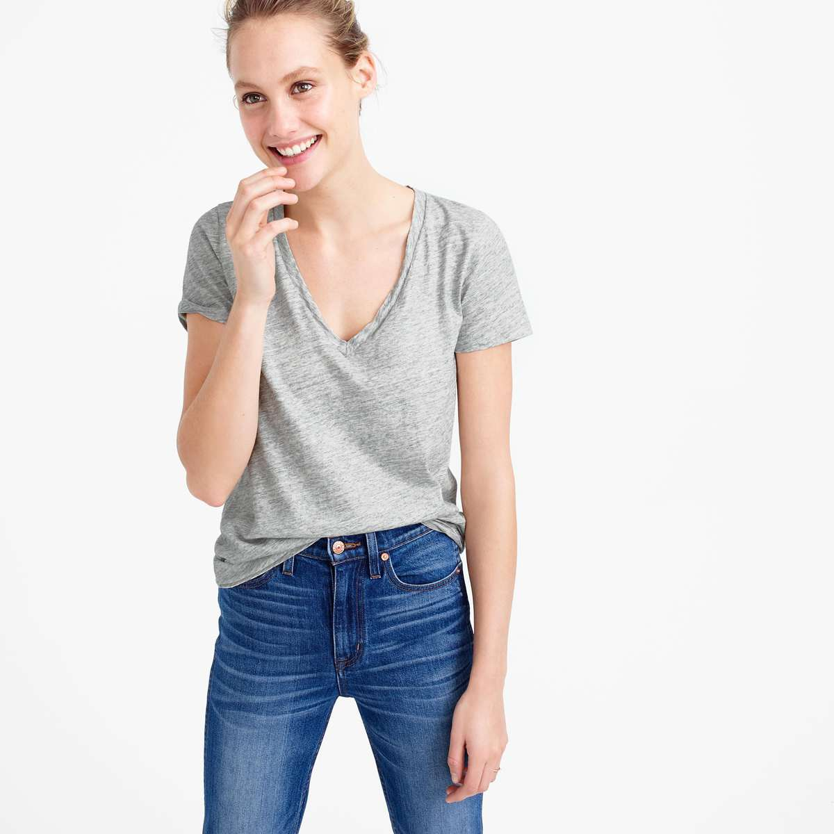 J. Crew silver Vintage cotton V-neck T-shirt in metallic