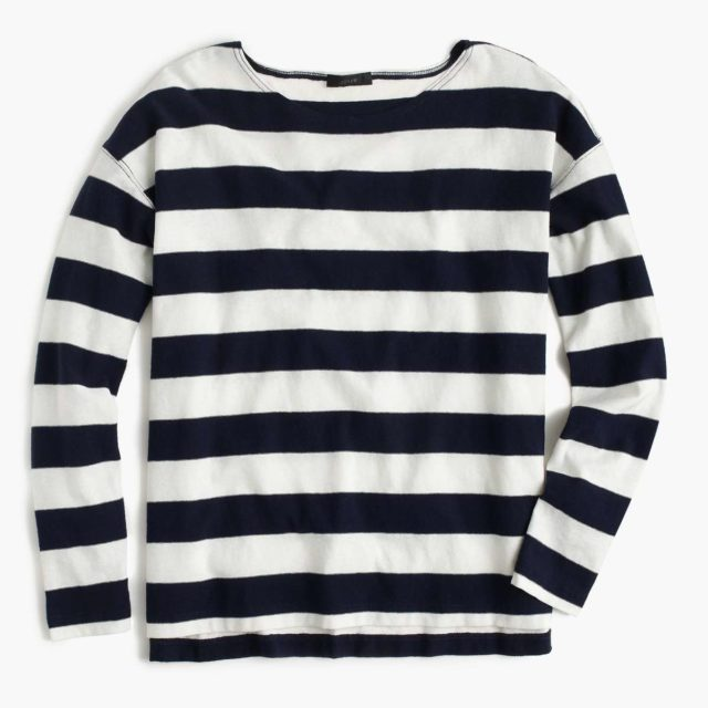J. Crew Navy Deck-striped T-shirt
