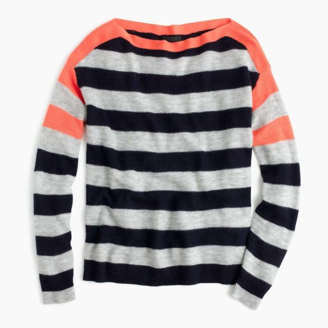 J. CREW Collection featherweight cashmere striped boatneck sweater