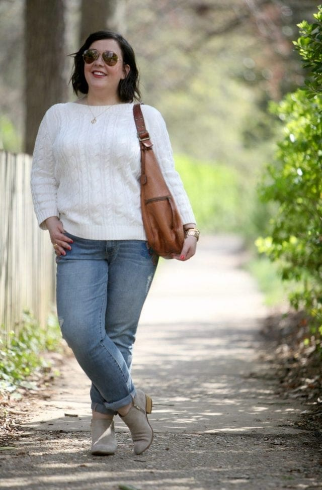 Wardrobe Oxygen, an over 40 fashion blog featuring a Lands' End cableknit sweater, JAG Jeans, and Clarks ankle booties