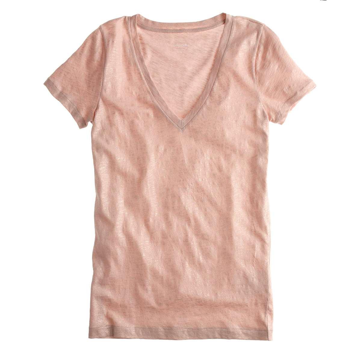 J. Crew Vintage cotton V-neck T-shirt in metallic - Wardrobe Oxygen