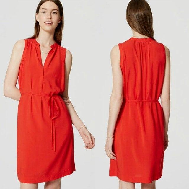 LOFT Sleeveless Tie Waist Shirt Dress - Wardrobe Oxygen