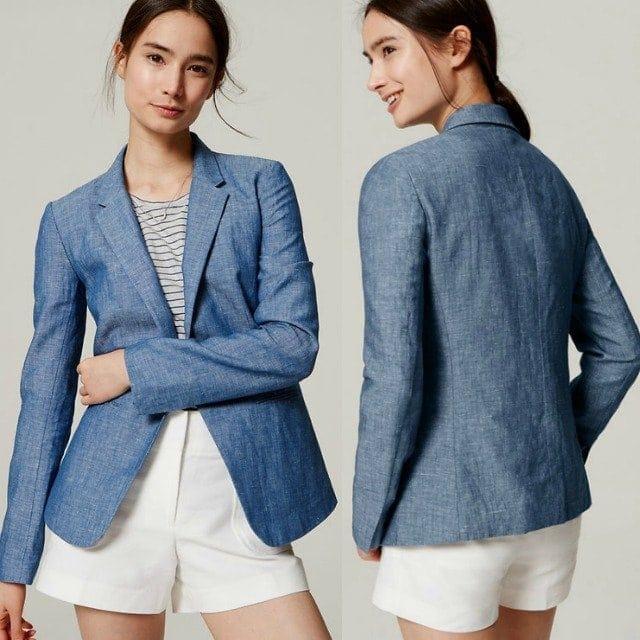 Wardrobe Oxygen - LOFT Chambray Blazer Review