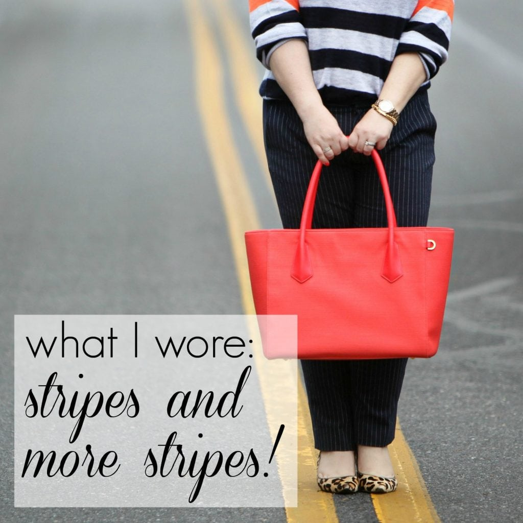 Wardrobe Oxygen What I Wore - Stripes and More Stripes featuring Dagne Dover Vermilion tote