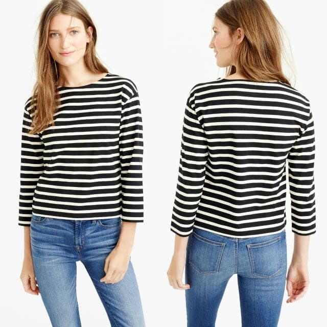 J. Crew Long-sleeve striped crewneck T-shirt