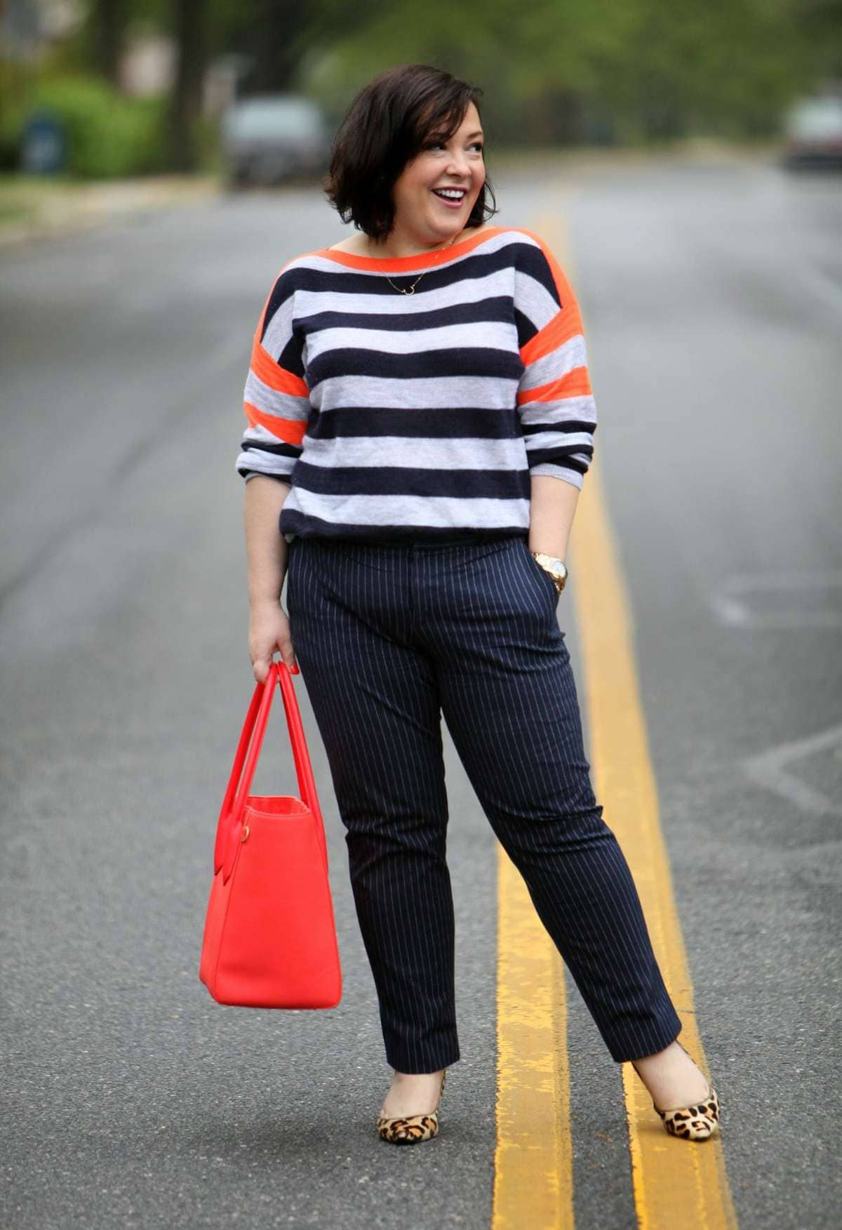 """Wardrobe Oxygen, over 40 curvy fashion blogger featuring a J. Crew cashmere sweater, Banana Republic pants, and a Dagne Dover 15"""" tote"""