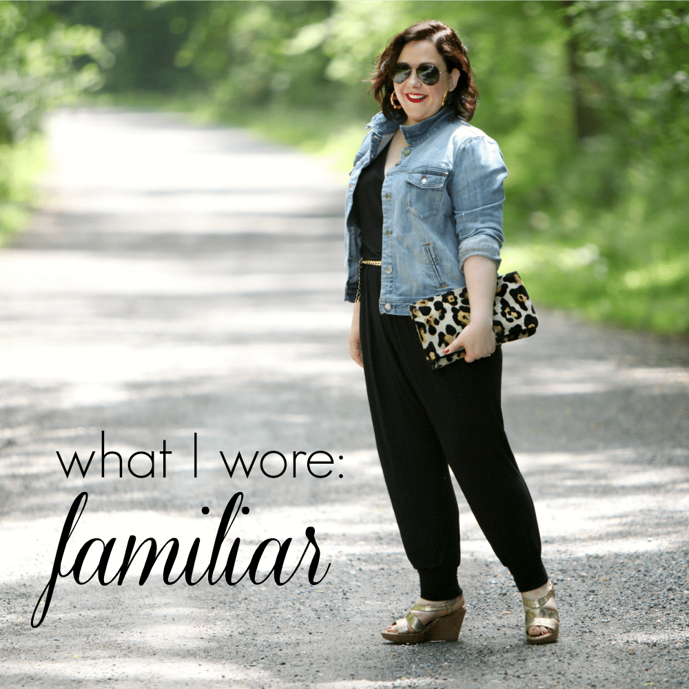 wardrobe oxygen in a loveappella jumpsuit and j crew factory denim jacket What I Wore: Familiar