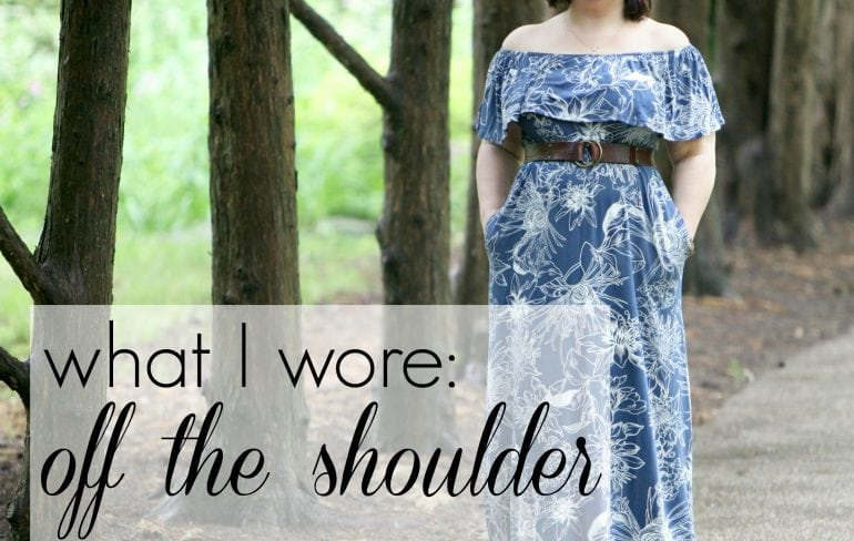 wardrobe oxygen what I wore off the shoulder soma intimates dress