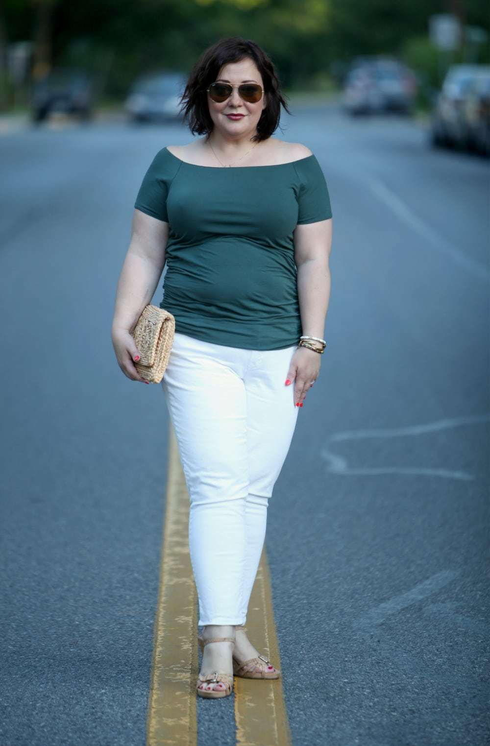 Wardrobe Oxygen in Boden off shoulder ruched top and white Gap girlfriend jeans