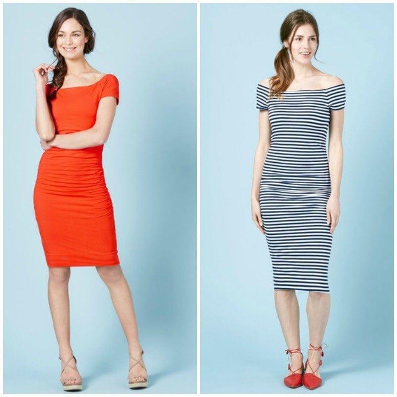 boden knit stretch off the shoulder ruched dress