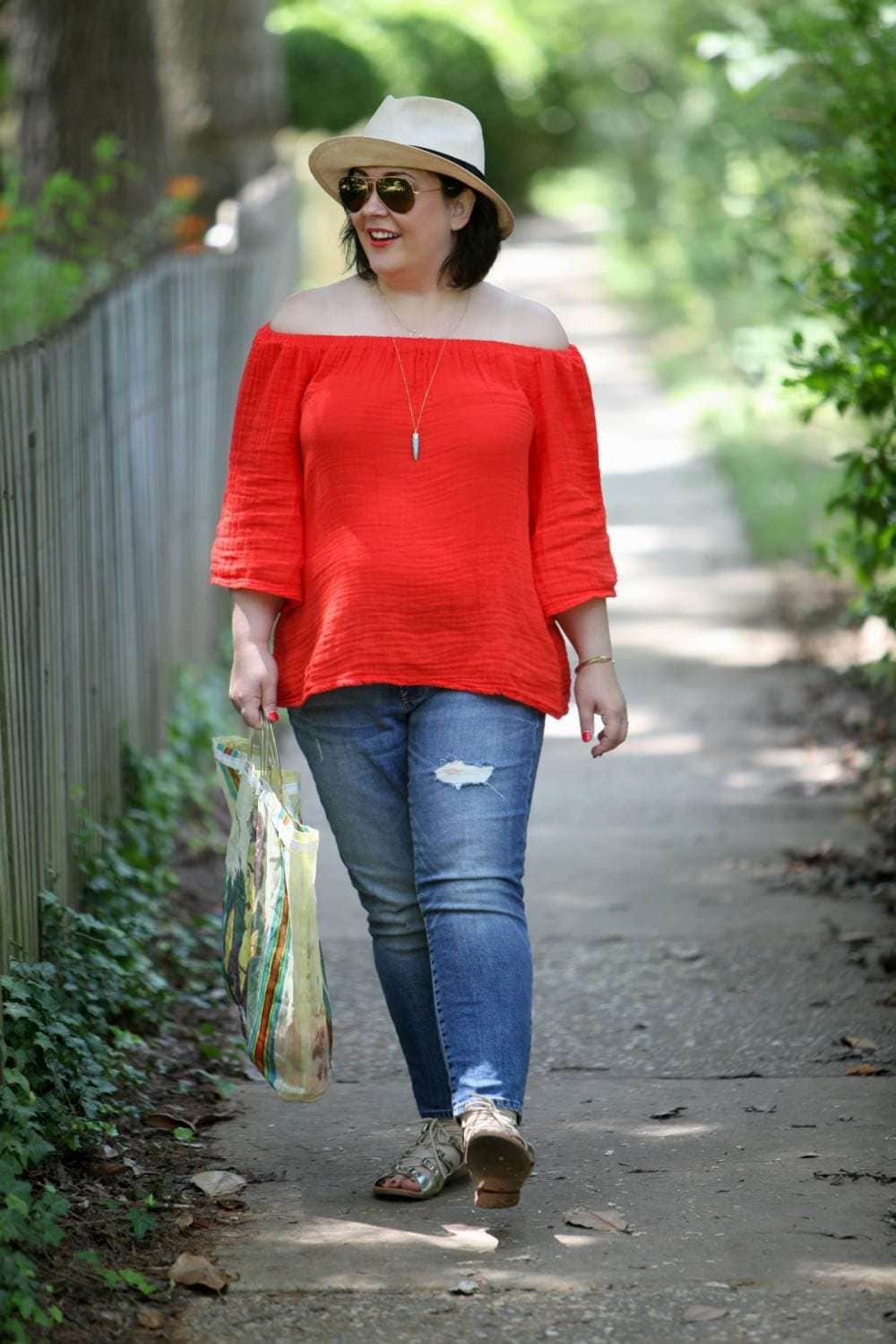 over 40 fashion blog wardrobe oxygen in gap jeans and michael stars top