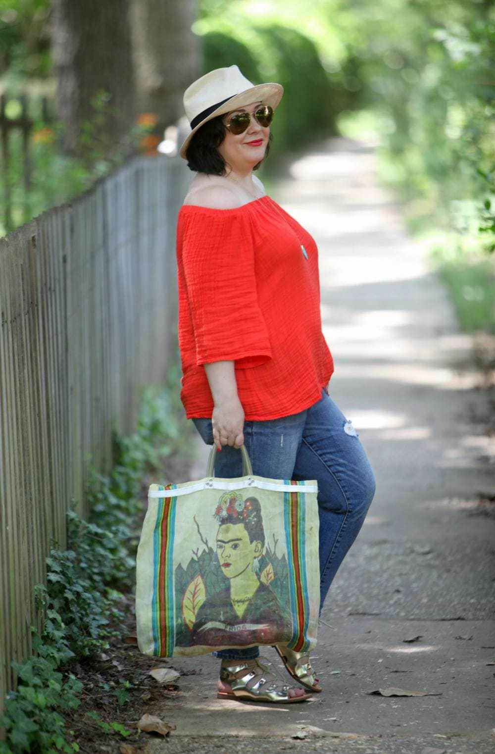 over 40 size 14 fashion blogger wardrobe oxygen in an orange michael stars off the shoulder top