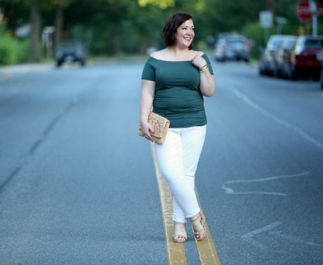 wardrobe oxygen wearing a boden off the shoulder top and gap jeans