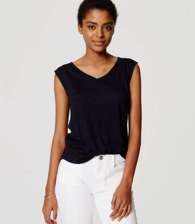 LOFT sleeveless linen v neck