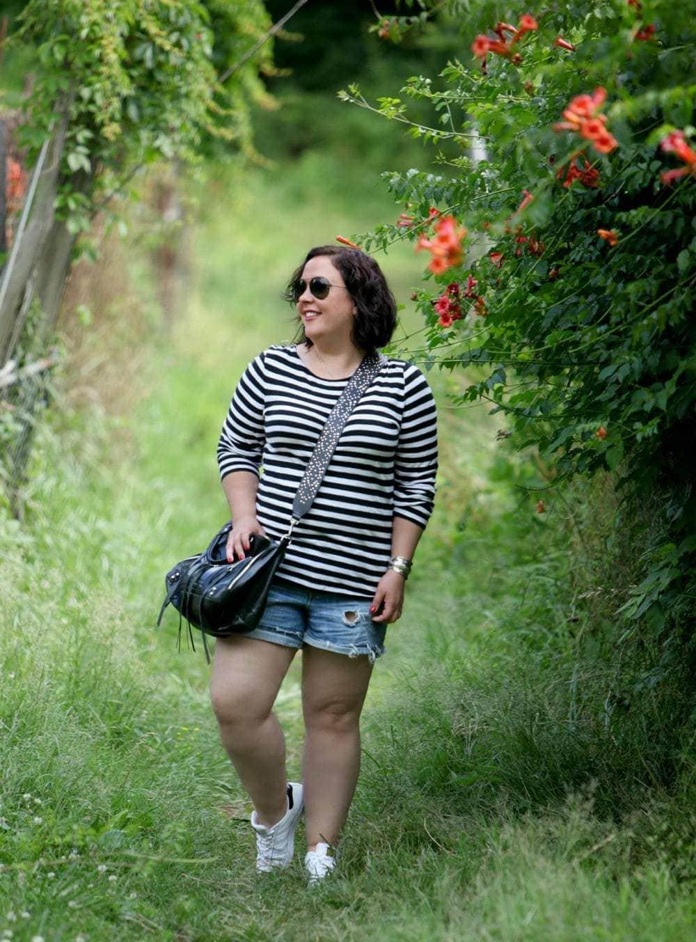 Over 40 fashion blogger Wardrobe Oxygen with a Rebecca Minkoff Moto Bag with Guitar Strap