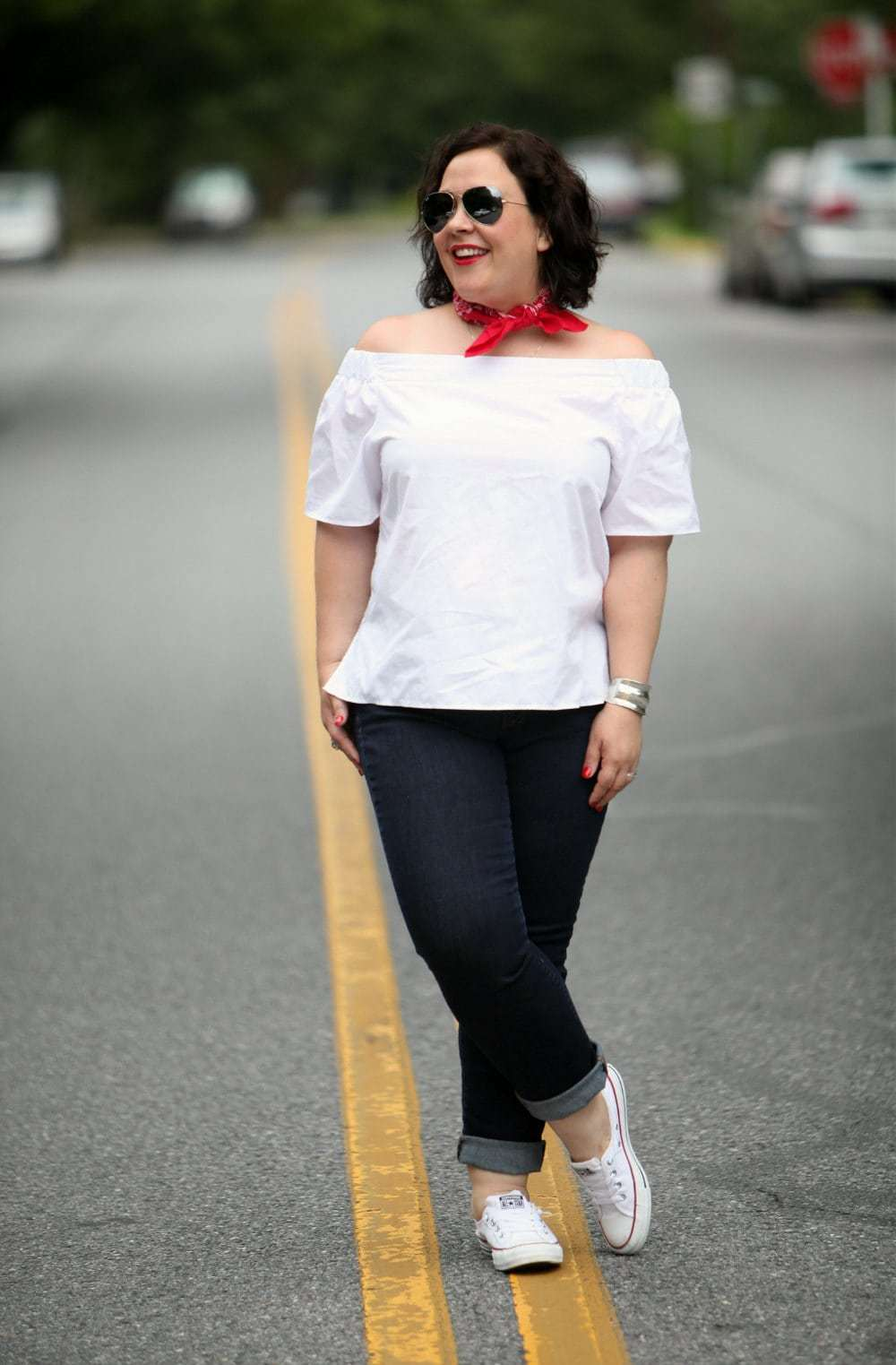 Wardrobe Oxygen Over 40 Fashion Blogger in ASOS Gap and Converse