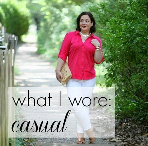 What I Wore: Casual Caslon roll sleeve cotton knit shirt