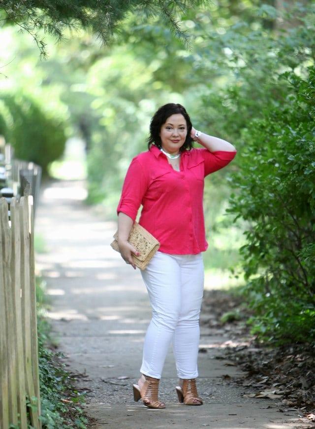 Wardrobe Oxygen in a Caslon roll sleeve cotton shirt and Gap Girlfriend jeans