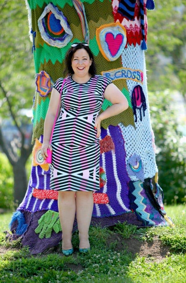 Wardrobe Oxygen wearing a dress from Gwynnie Bee