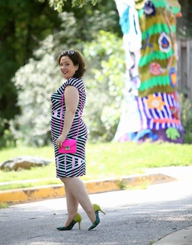 Wardrobe Oxygen wearing aa Gwynnie Bee dress with Loeffler Randall Mini Rider bag