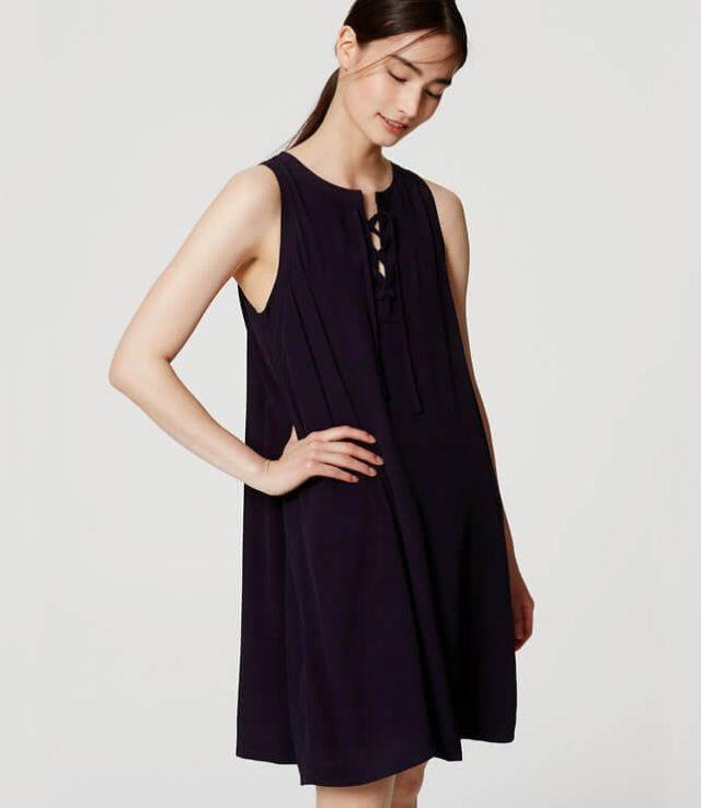 loft lace up dress - navy