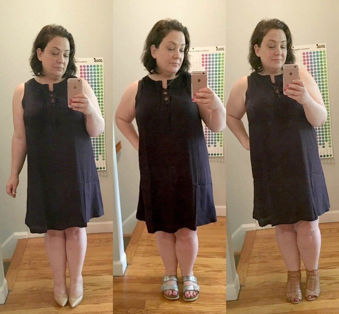 navy lace up dress three different shoes - wardrobe oxygen