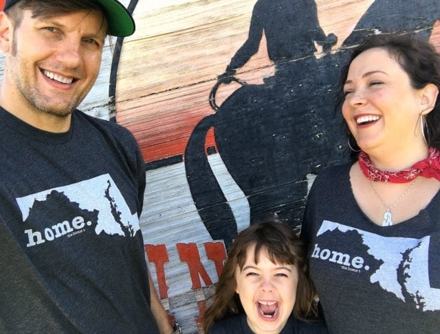 Visiting Dodge City Kansas wearing The HomeT shirts as a family
