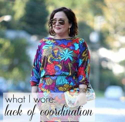 Wardrobe Oxygen What I Wore featuring a vintage Bloomingdales batwing print knit dress and Novica clutch