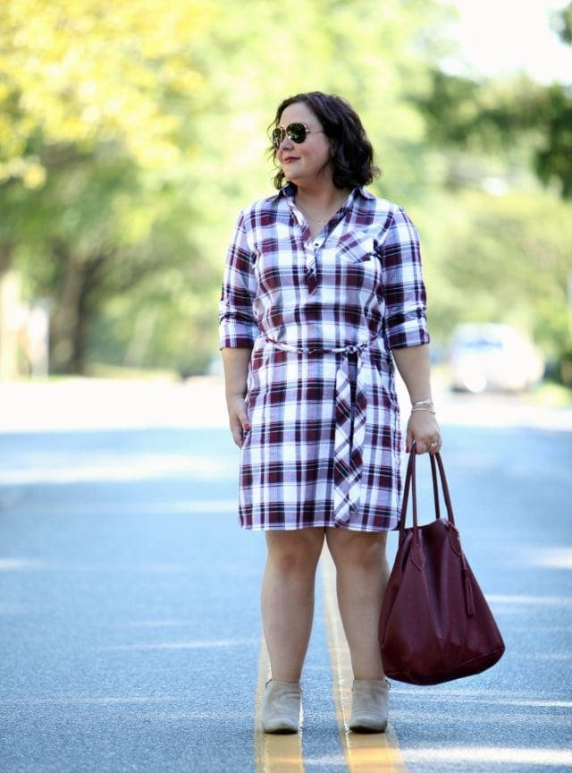 Wardrobe Oxygen in Foxcroft Shirtdress with Adora Bag and Clarks Booties