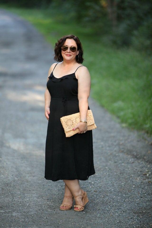 Wardrobe Oxygen in a Newlook sundress and Aerosoles sandals