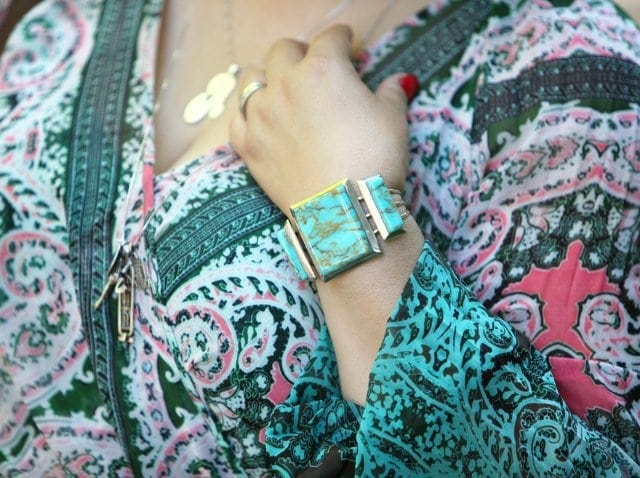 Wardrobe Oxygen in a silver and turquoise cuff bracelet