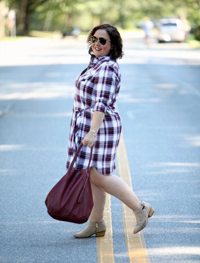 Wardrobe Oxygen wearing a Foxcroft Plaid Shirt Dress