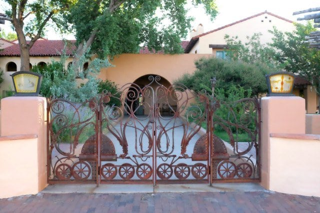 back gate to La Posada Hotel Winslow