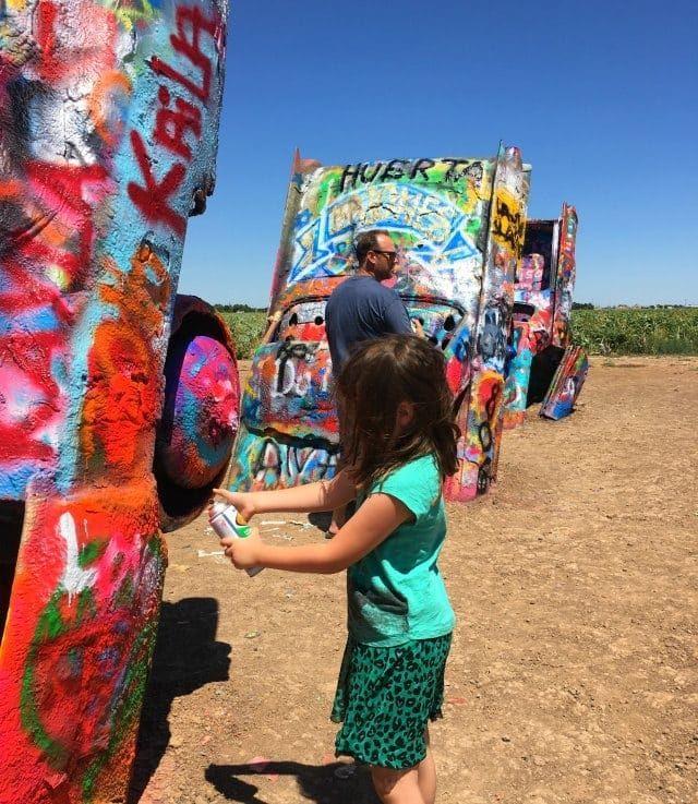 emerson spraying at cadillac ranch