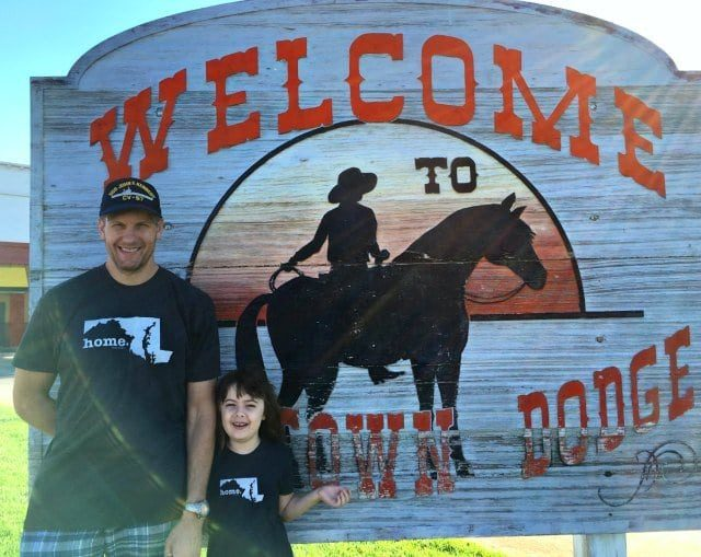 visit to dodge city kansas wearing the HomeT shirts as a family